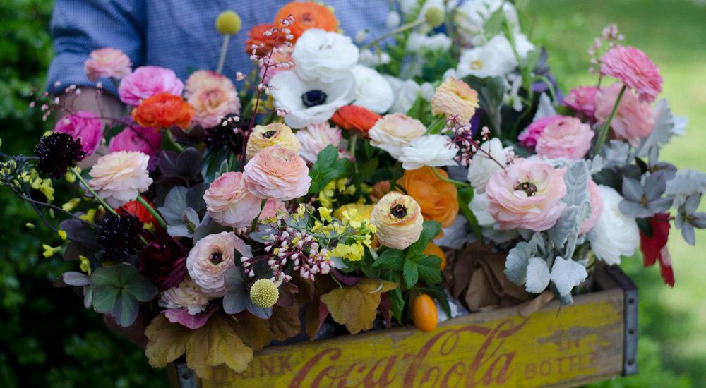 ranunculus, spring flowers, flower farmer, farmer florist, anemones, verbena