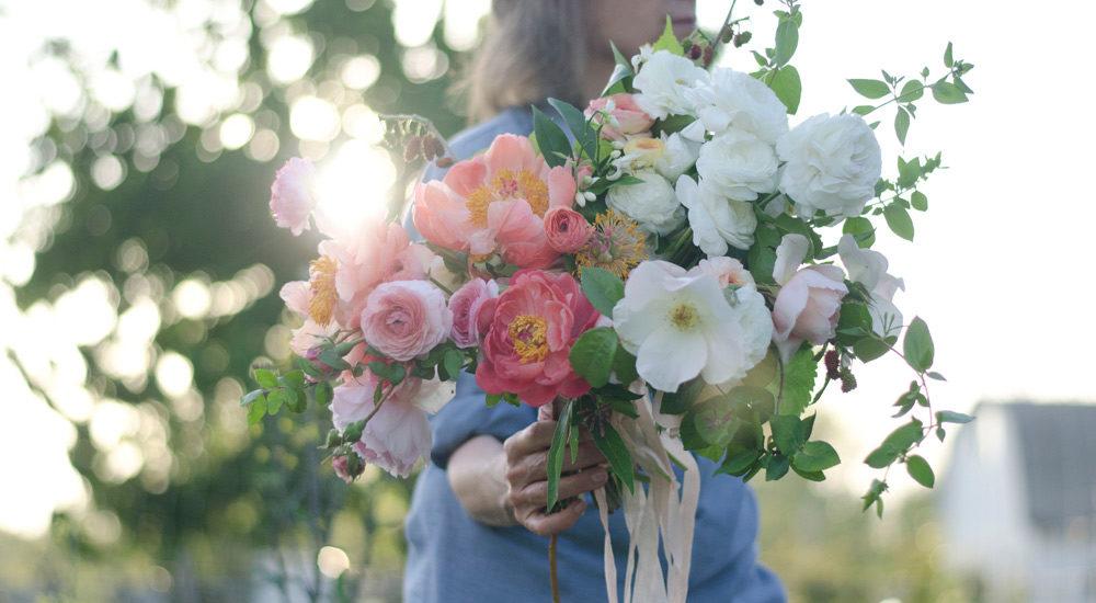 spring bouquet, wedding bouquet, peonies, coral charm, verbena, farmer florist, clematis