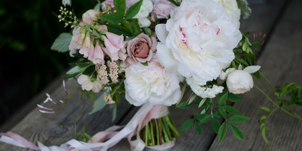 peach, blush wedding bouquet, verbena, romantic, peonies, farmer florist