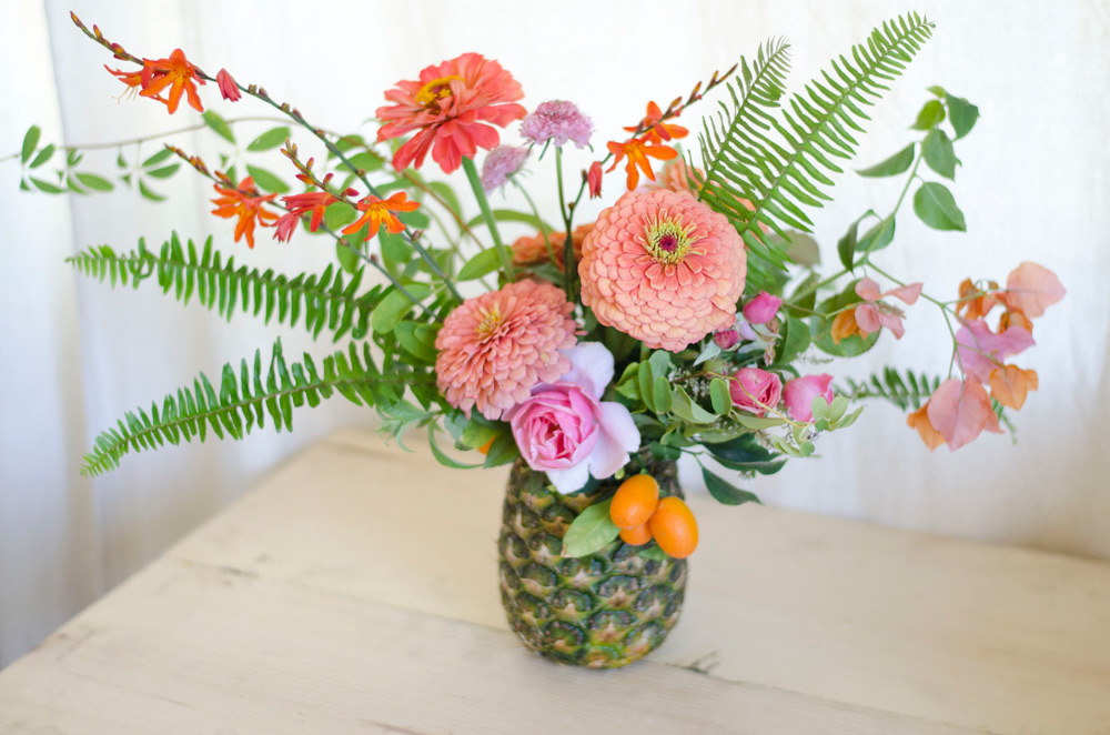 Palm springs summer party verbena living pineapple arrangement verbena palm springs flowers mightylinksfo