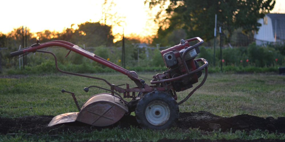 rototiller at small backyard farm