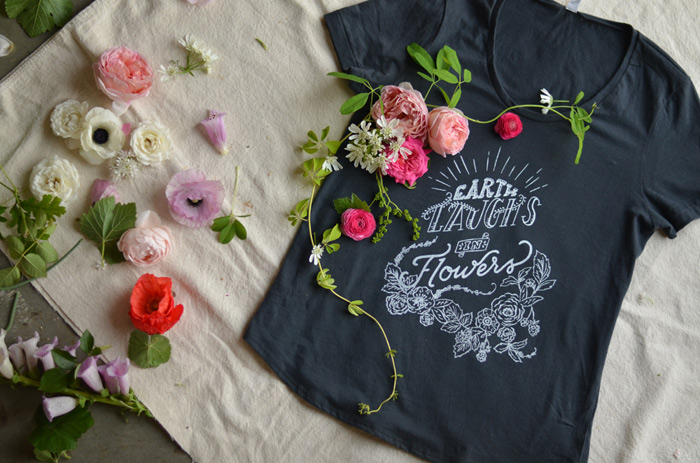 earth laughs in flowers tshirt handmade for farmer florist