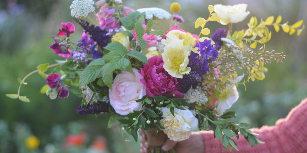 bright wedding bouquet with organic flowers in sacramento