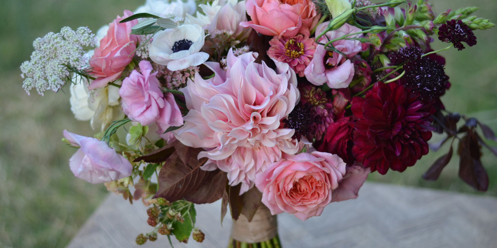 locally grown american slow flower wedding bouquet